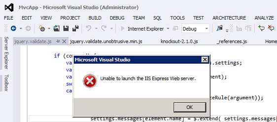 """Issue: Visual Studio 2012 > """"Unable to launch the IIS"""