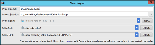 Building a Spark Application for HDInsight using IntelliJ Part 1 of 2-8