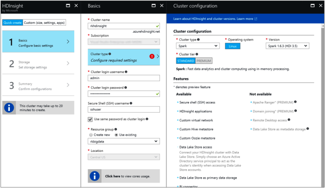 Create HDInsight Spark Cluster with Azure Data Lake Store-2