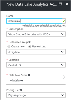 Creating Azure Data Lake Analytics1