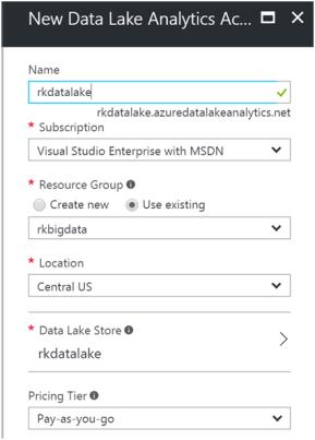 Creating Azure Data Lake Analytics1